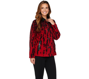 Bob Mackie's Animal Printed Fleece Jacket w/ Faux Leather Detail - A279160