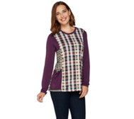 LOGO by Lori Goldstein Mixed Plaid Long Sleeve Knit Top