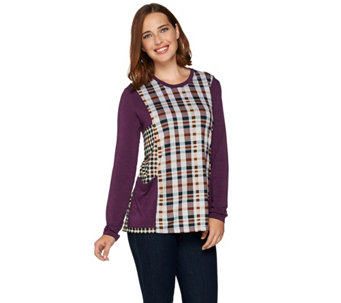 LOGO by Lori Goldstein Mixed Plaid Long Sleeve Knit Top - A279460