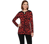 Susan Graver Printed Liquid Knit Long Sleeve Tunic - A279760