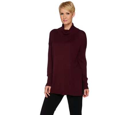 H by Halston Wide Turtleneck with Open Side Seam Detail