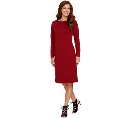 """As Is"" Susan Graver Artisan Ponte Knit Embellished Dress"