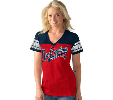 NFL Womens Mesh V-Neck Short Sleeve Tee with Foil