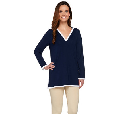 """As Is"" Susan Graver Dolce Knit Long Sleeve Hooded Pullover Tunic"