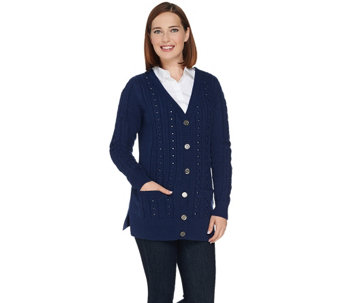 C. Wonder Boyfriend Cable Knit Cardigan with Embellishments - A282860