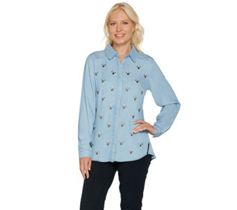 "C. Wonder Embellished Button Front ""Carrie"" Blouse - A283060"
