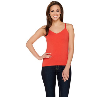 """As Is"" Susan Graver Weekend Essential Cotton Modal V-neck Cami"
