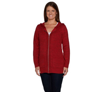 Denim & Co. Zip Front Cardigan with Hood and Pockets - A284560