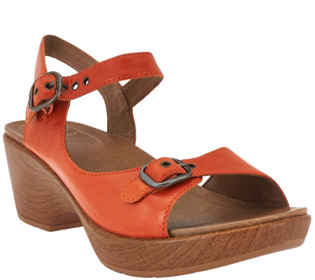 """As Is"" Dansko Leather Open- toe Sandals w/ Adjustable Straps - Joanie"
