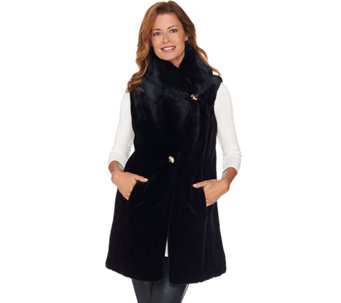 Dennis Basso Platinum Collection Faux Sheared Mink Long Vest - A284860