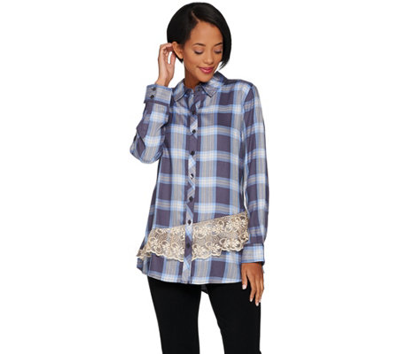LOGO by Lori Goldstein Button Front Plaid Shirt with Lace Trim