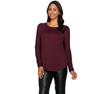 Lisa Rinna Collection Mixed Media Long Sleeve Top with Back Pleat - A285560
