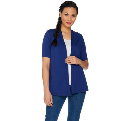 Susan Graver Weekend Stretch Cotton Modal Open Front Cardigan