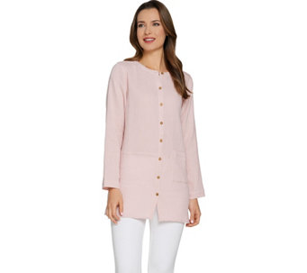 Joan Rivers Crinkle Texture Button Front Tunic - A288760