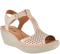 Clarks Leather T-Strap Wedge Sandals - Reedly Waylin - A290060
