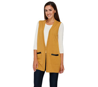 """As Is"" Joan Rivers Boyfriend Sweater Vest w/ Faux Leather - A290560"