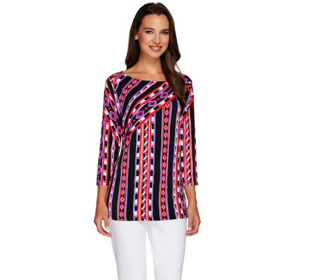 """As Is"" Bob Mackie's Tribal Stripe Print Top"