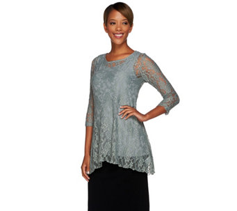 """As Is"" Attitudes by Renee Lace Tunic & Jersey Knit Tank Set - A292860"