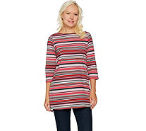 Denim & Co. Striped 3/4 Sleeve Boat Neck Tunic with Side Slits - A292960