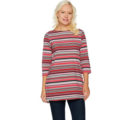 Denim & Co. Striped 3/4 Sleeve Boat Neck Tunic with Side Slits