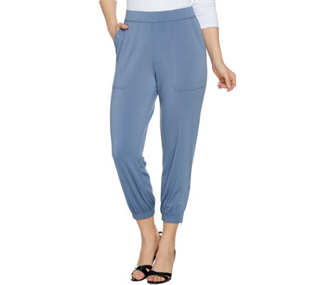 """As Is"" Lisa Rinna Collection Petite Banded Knit Crop Pants"
