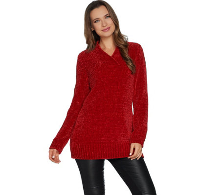 """As Is"" Susan Graver Modern Essentials Chenille V-Neck Sweater"