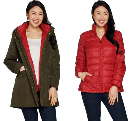 """As Is"" Susan Graver 3 in 1 Anorak Jacket and Puffer Coat"