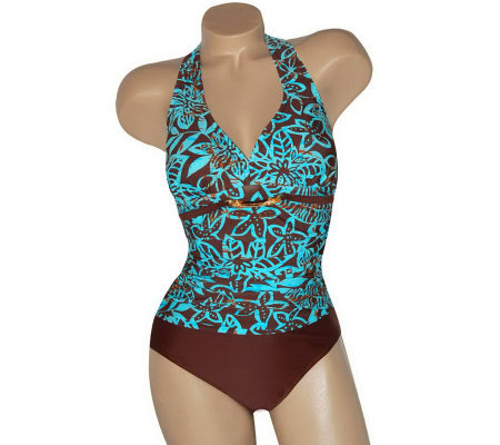 Carol Wior's Shape Detector Island Shirred Front w/X Back