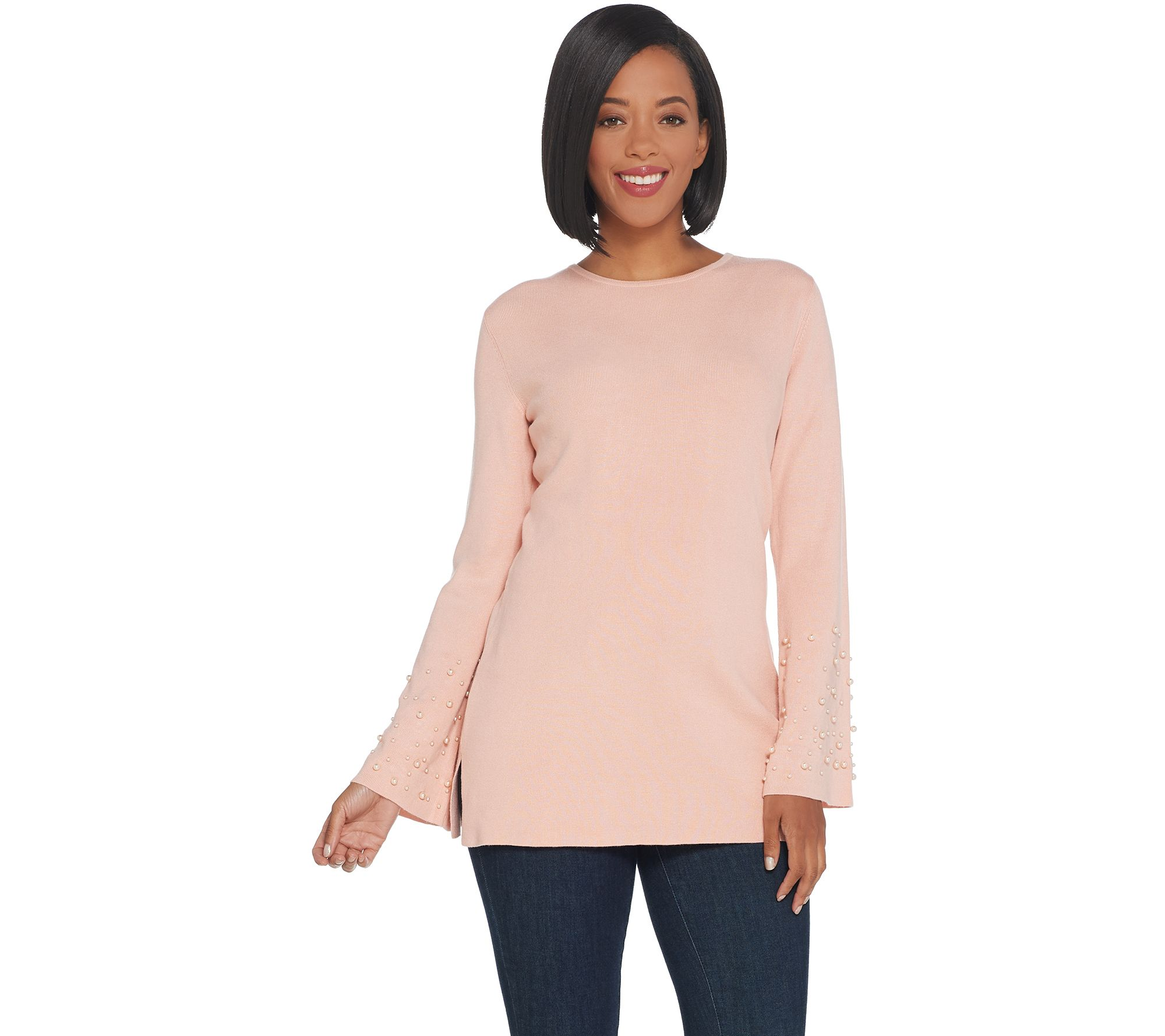 Linea by Louis Dell'Olio Whisper Knit Sweater with Pearl Trim - A343560