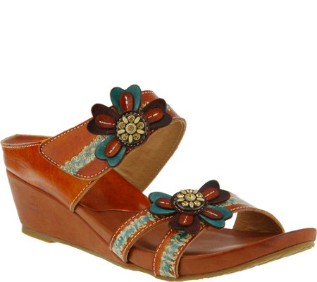Spring Step L'Artiste Leather Wedge Slide Sandals - Bacall