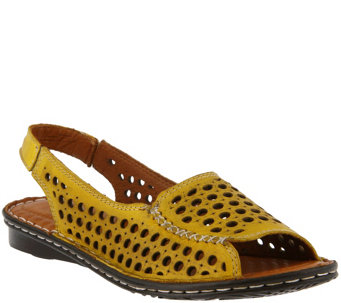 Spring Step Laser-Cut Leather Sandals - Jordana - A357060