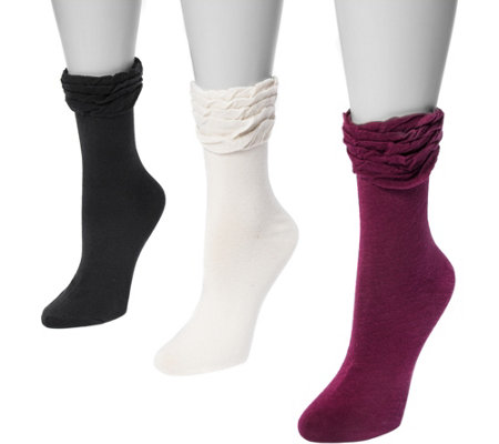 MUK LUKS Women's Three-Pair Pack Ruffle Boot Socks