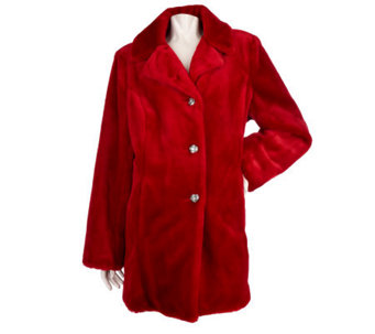 Dennis Basso Sheared Faux Mink Single Breasted 3/4 Length Coat - A95160