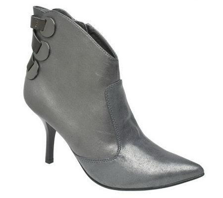 KathyVanZeeland Ankle Boots w/ Back Lace & Hardware Detail