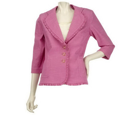 Joan Rivers Easy Elegance Ruffle Trim Jacket