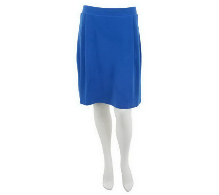 """As Is"" Susan Graver Solid Liquid Knit Pull-on Skort with Pleats"