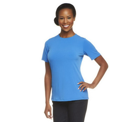 """As Is"" Susan Graver Liquid Knit Short Sleeve Crew Neck Top"