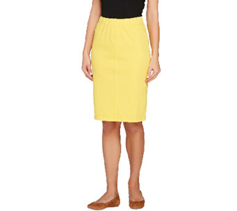 Isaac Mizrahi Live! Icon Marilyn Knit Denim Pull-On Skirt - A240961