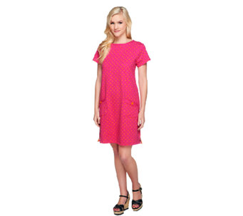 Susan Graver Weekend Dot Print French Terry Bateau Neck Dress - A254361