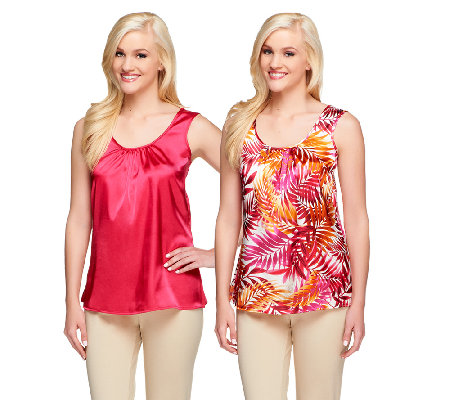 Susan Graver Set of 2 Print and Solid Stretch Charmeuse Tanks