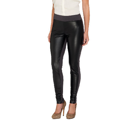 Women with Control Petite Faux Leather Tushy Lifter Leggings