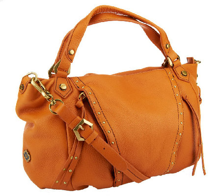 """As Is"" orYANY Pebble Leather Candice Studded Satchel"
