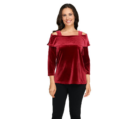 Susan Graver Stretch Velvet 3/4 Sleeve Foldover Collar Top
