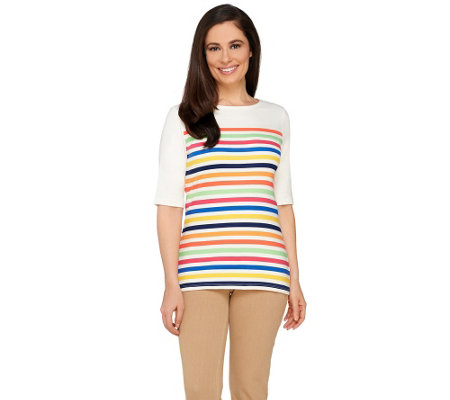 Liz Claiborne New York Multi-Stripe Elbow Sleeve T-Shirt