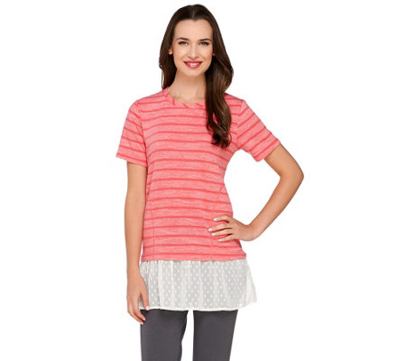 LOGO by Lori Goldstein Striped Short Sleeve Top with Swiss Dot Hem