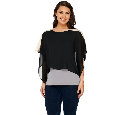Susan Graver Premier Knit Bateau Neck Top with Chiffon Overlay