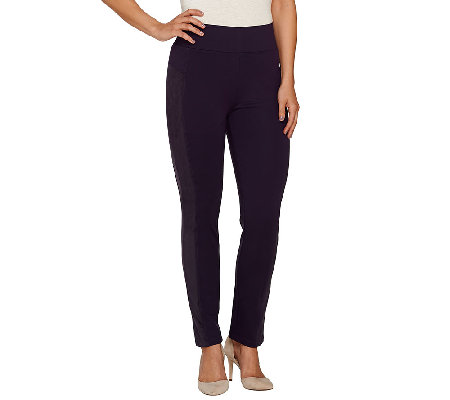 LOGO by Lori Goldstein Ponte Knit Pants with Faux Suede Panels