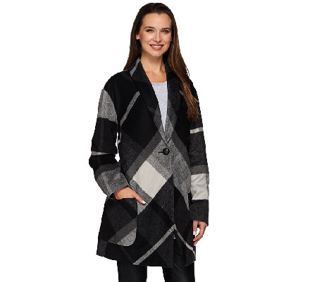 LOGO by Lori Goldstein Drop Shoulder Plaid Coat with Patch Pockets