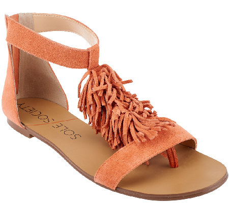 """As Is"" Sole Society Suede Sandals with Fringe - Koa"