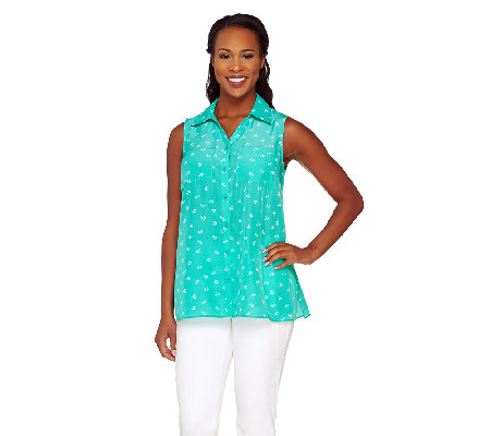 """As Is"" Susan Graver Printed Woven Sleeveless Shirt"